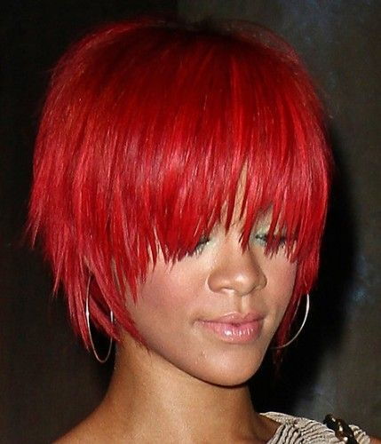 Red And Shattered Rihanna HairstylesShort