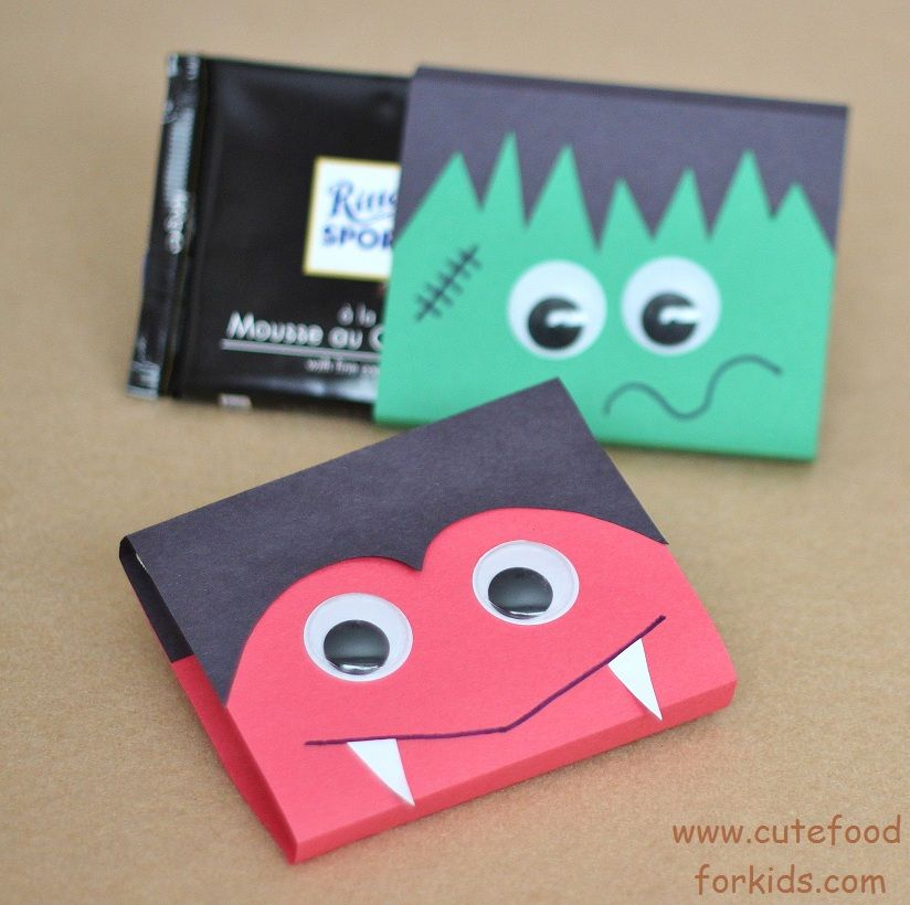 halloween treat bag ideas vampire and frankenstein chocolate bar wraps from cute food for kids