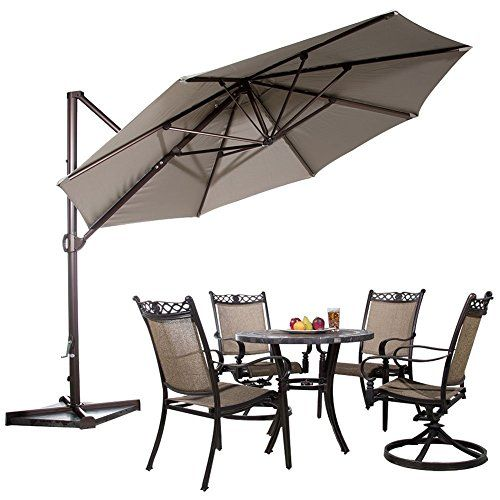 Abba Patio 11 Ft Aluminum Offset Cantilever Umbrella Outdoor Hanging Parasol With Cross Base An Cantilever Patio Umbrella Patio Umbrella Offset Patio Umbrella