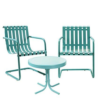 Crosley '3 Piece Gracie Metal Outdoor Conversation Seating Set with 2 Chairs and Side Table', Caribbean Blue