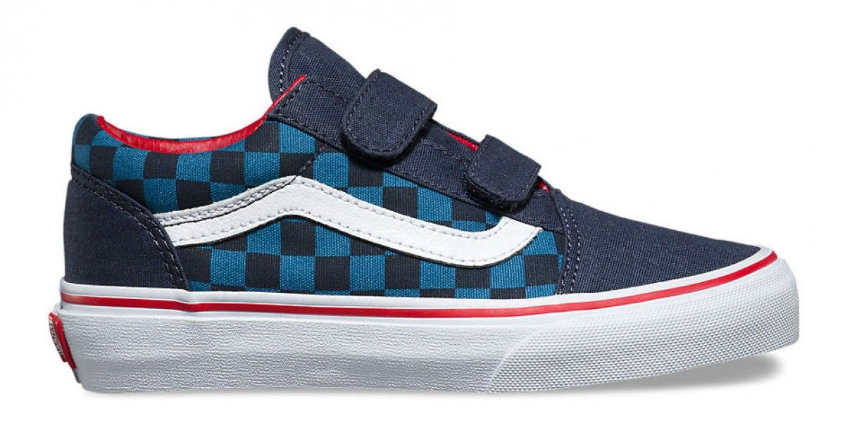 62158e27cd Vans Kids Old Skool V (Checkerboard) Blue Navy