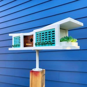 Alhambra Special Edition Birdhouse Midcentury Modern Style Design Architecture Bird House Made i
