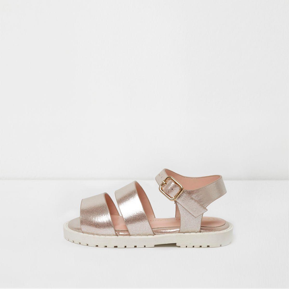 Mini girls pink metallic strappy