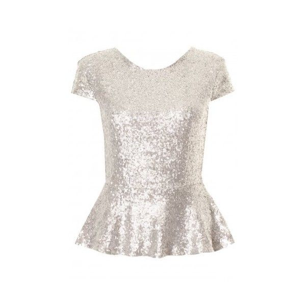 Silver Sequin Capped Sleeve Peplum Top ($46) found on Polyvore