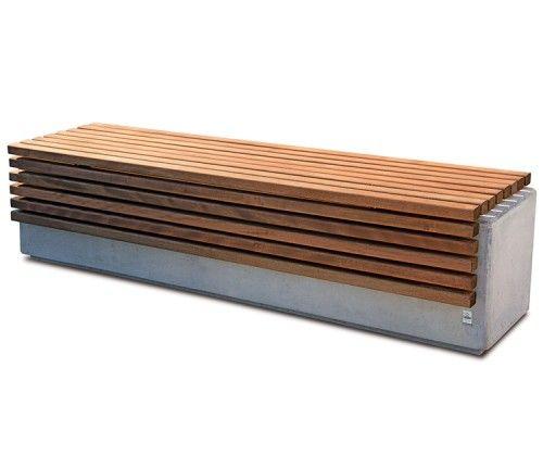 Guyon banc bois beton lithos mobilier urbain objetss for Meuble urbain
