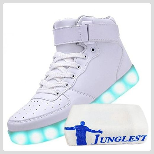 [Present:kleines Handtuch]Weiß EU 40, Flash Sport USB Luminous 7 weise Shoes Changing Charging High Women Casual JUNGLEST® Couple Sneakers Men Colo