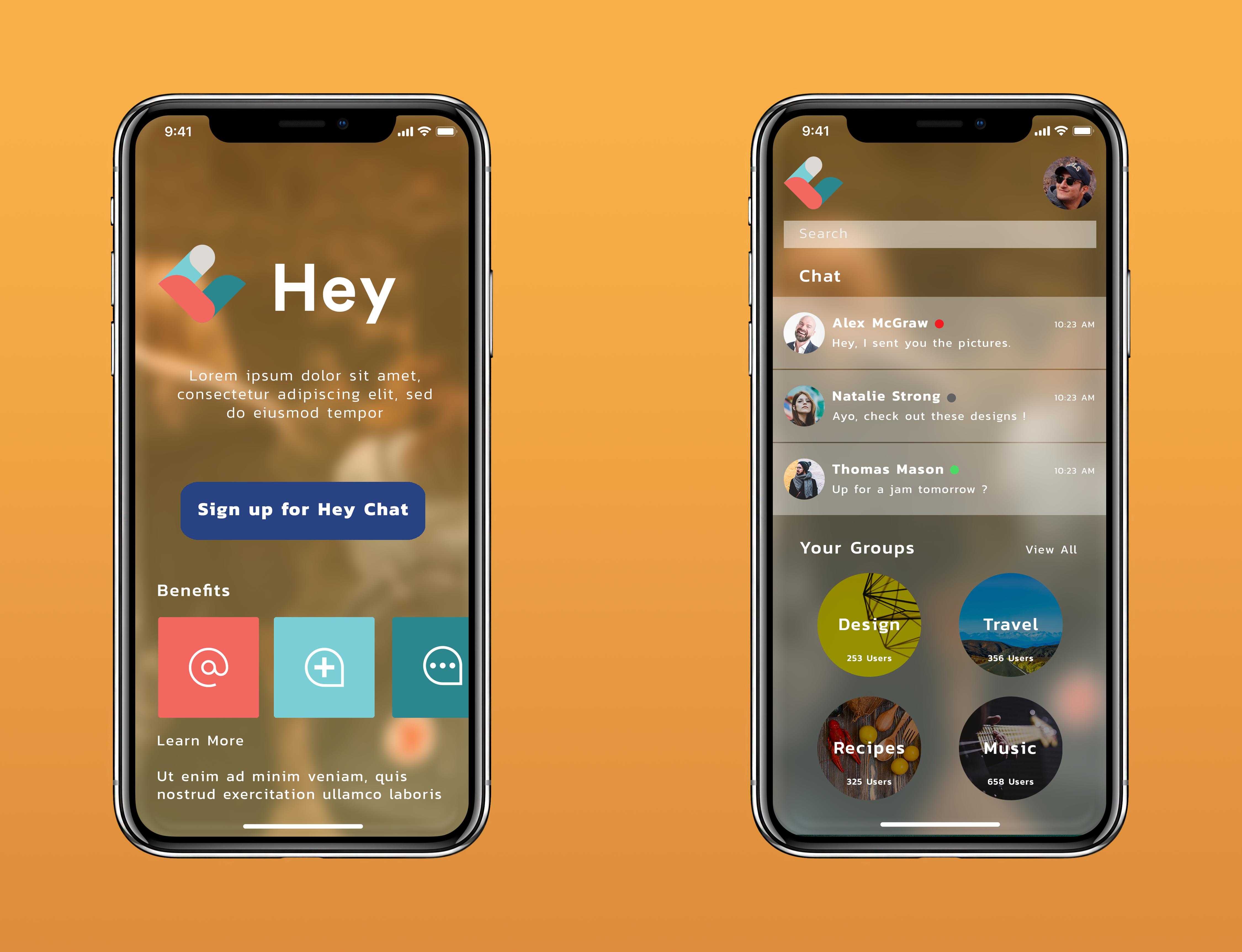 Hey Chat App Chat app, Hotel app, App