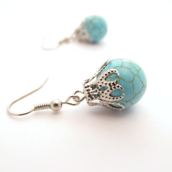 Blue Stone Dangle Earrings With Filigree Tops by MoonlightShimmer, $10.00