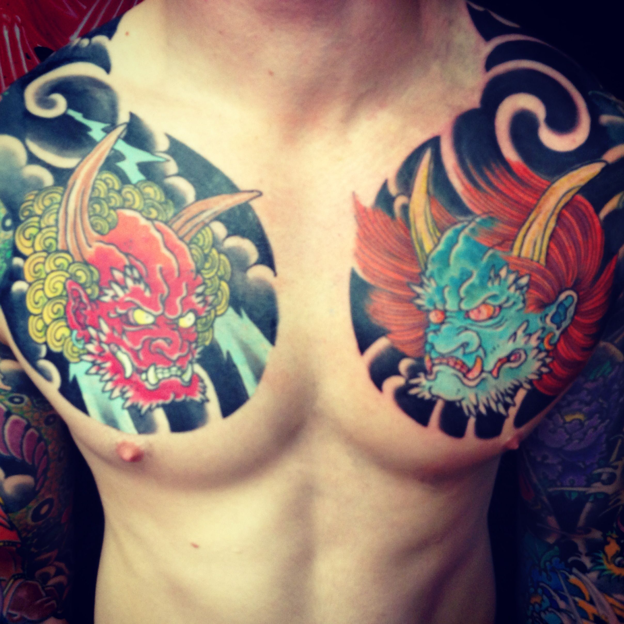 Japanese chest plates by adam craft the tattooed heart for Japanese style chest tattoos