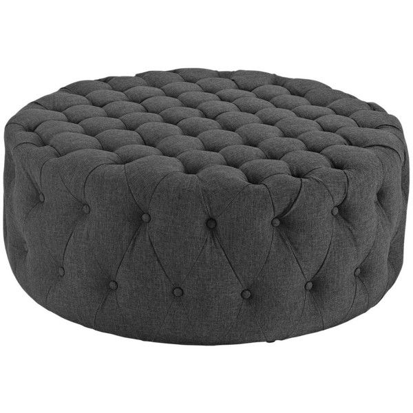 Modway Furniture Amour Fabric Ottoman Gray By (5.170 ARS) ❤ liked on Polyvore featuring home, furniture, ottomans, gray ottoman, tufted ottoman, tufted footstool, round fabric ottoman and upholstered ottoman