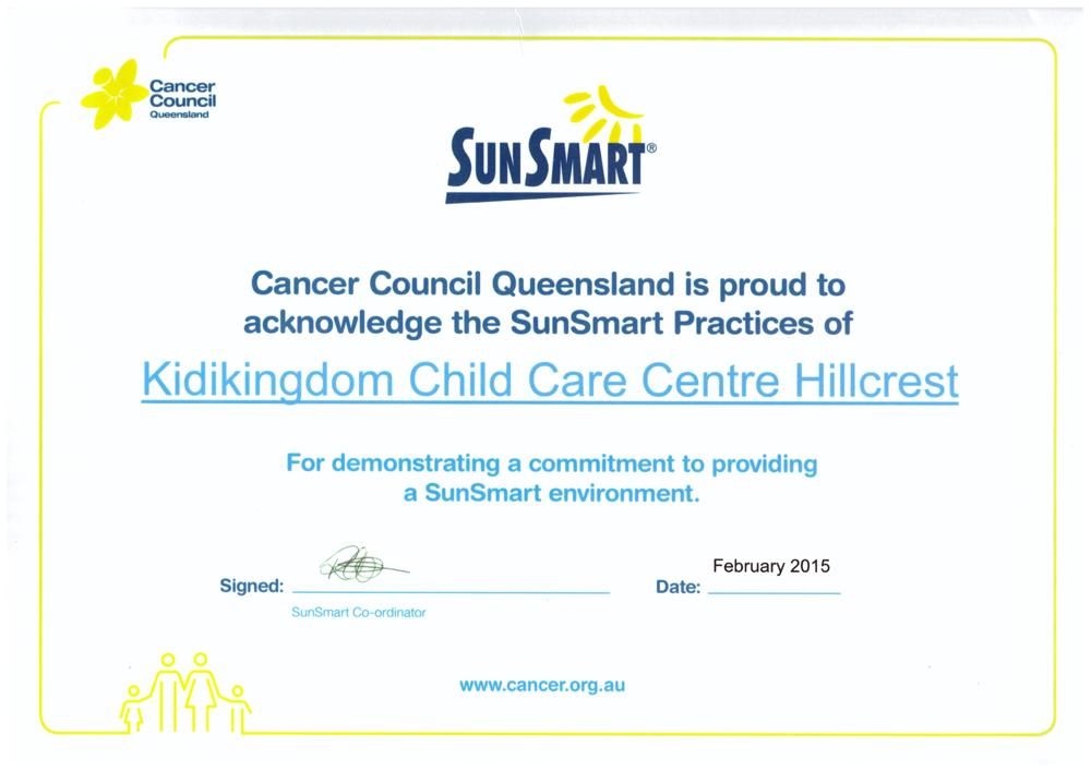 We Are Sun Smart Certificate Childcare Kindergarten