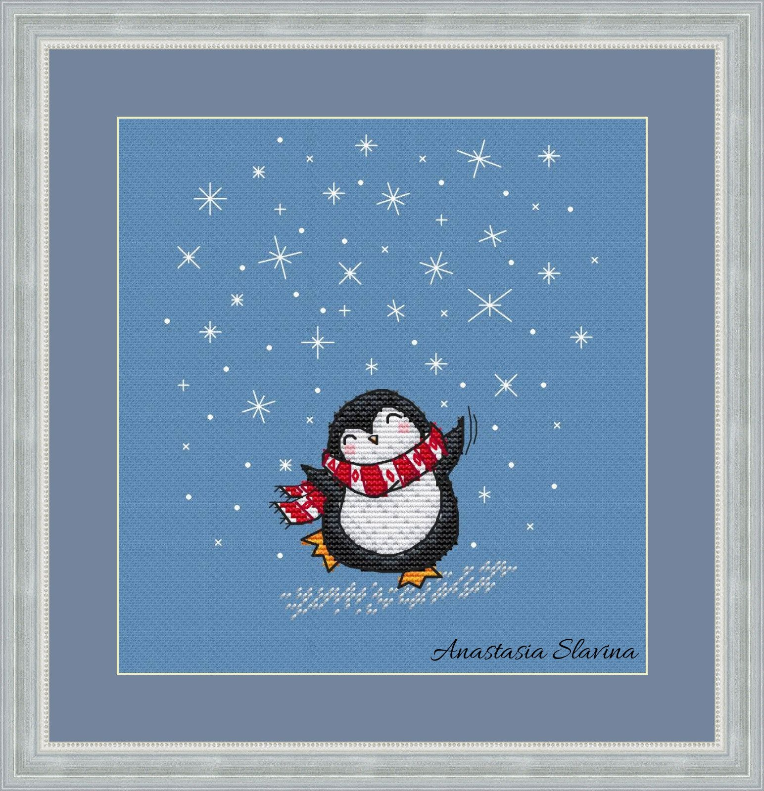 Winter penguin dance cute cross stitch pattern Christmas