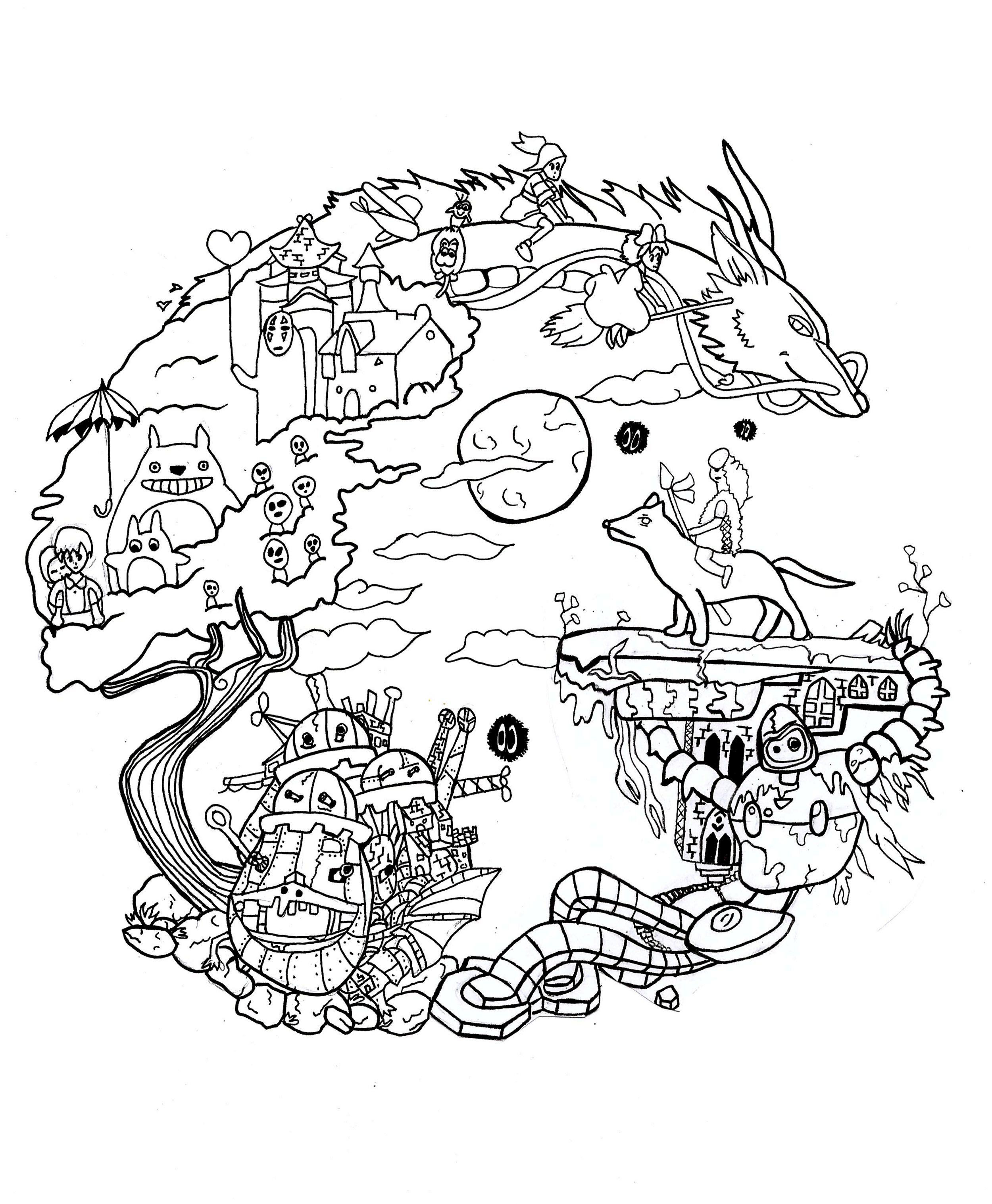 36 Sensational Image Coloring Manga Studio Ghibli Tattoo Studio Ghibli Tattoo Studio Ghibli Fanart [ 3035 x 2500 Pixel ]