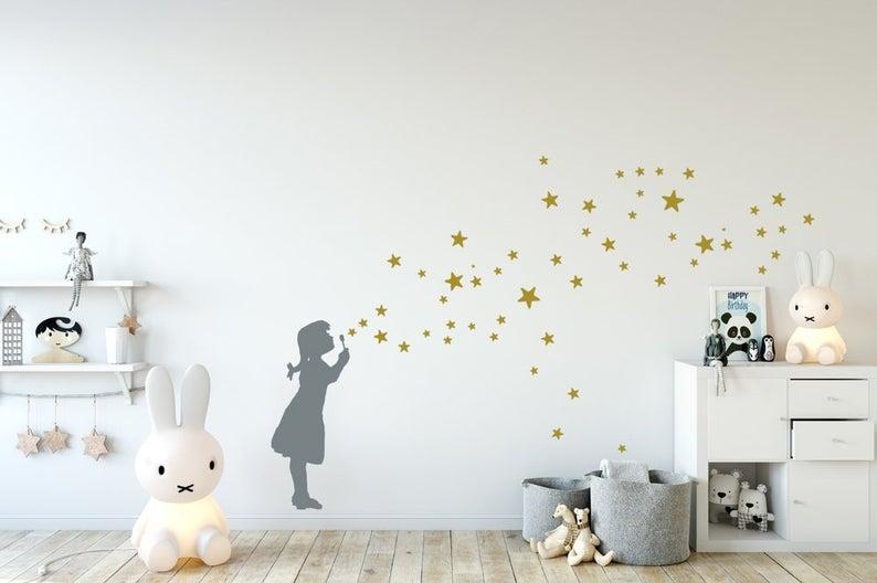 Wandsticker Sterne Seifenblasen Mädchen, DIYWandtattoo
