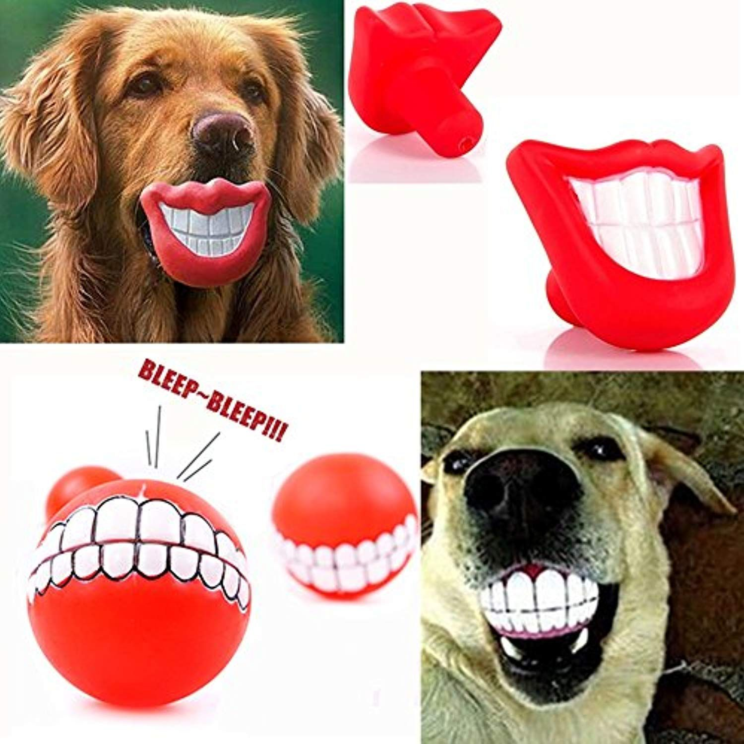 Whomec Puppy Dog Toys Big Red Chewing Squeaky Toy Rubber For Pet
