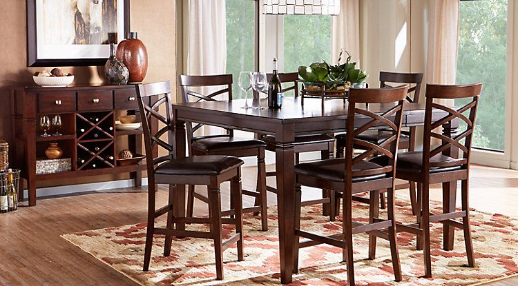 riverdale cherry 5 pc square counter height dining room for the rh pinterest ca