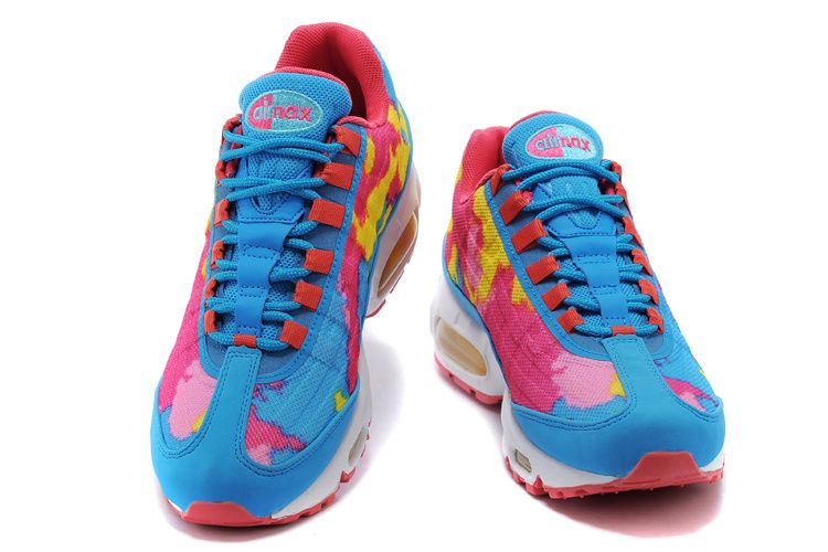 magasin en ligne 317c0 6ead9 Nike Air Max 95 Premium Tape Femme Chaussures Bleu Rouge ...