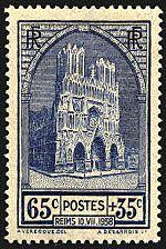Reims 10.VII.1938 - La cathédrale de Reims - Timbre de 1938