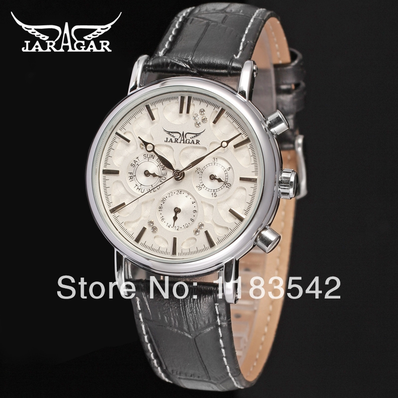 24.00$  Buy here - http://alif0g.shopchina.info/1/go.php?t=1746366270 - Jargar JAG6348M3S3 new men Automatic  fashion dress wristwatch silver color black leather  band   free shipping  #shopstyle