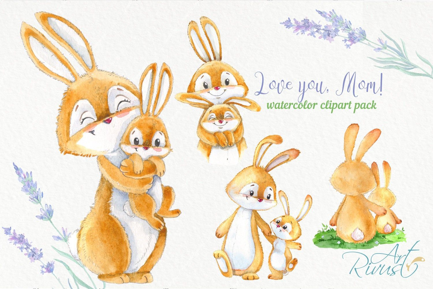 Cute Bunny And Mom Mother S Day Watercolor Clipart With Etsy Watercolor Clipart Rabbit Clipart Rabbit Nursery Decor