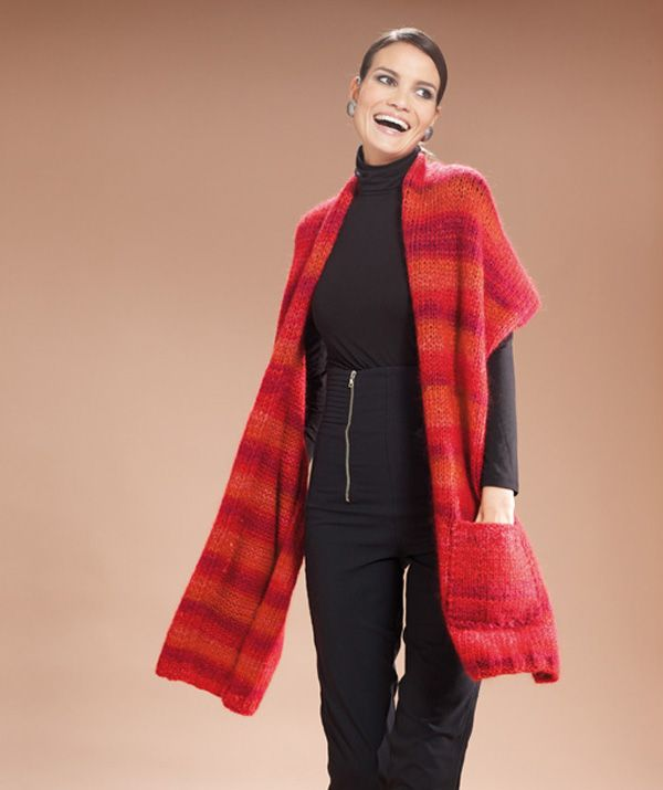 Ladies' Scarf With Large Pockets pattern   Knitting ...