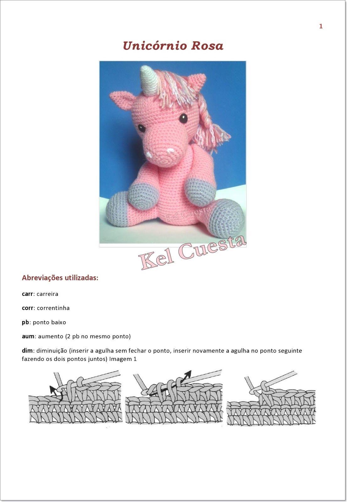 Unicórnio rosa em crochê - Amigurumi, para decoração de festas ou ... | 1600x1105