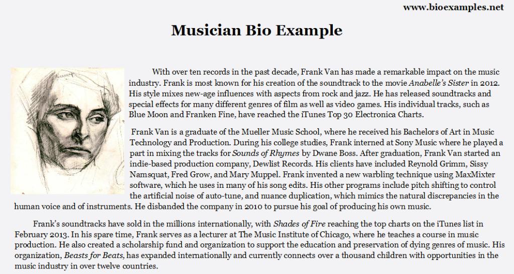 musician bio example