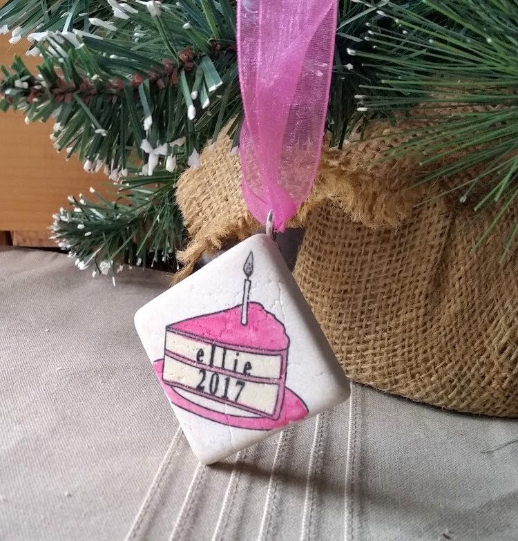 Personalized First Birthday Christmas Ornament - First Birthday Gift Keepsake - Slice of Cake Design by MyLittleChick on Etsy https://www.etsy.com/listing/509386595/personalized-first-birthday-christmas