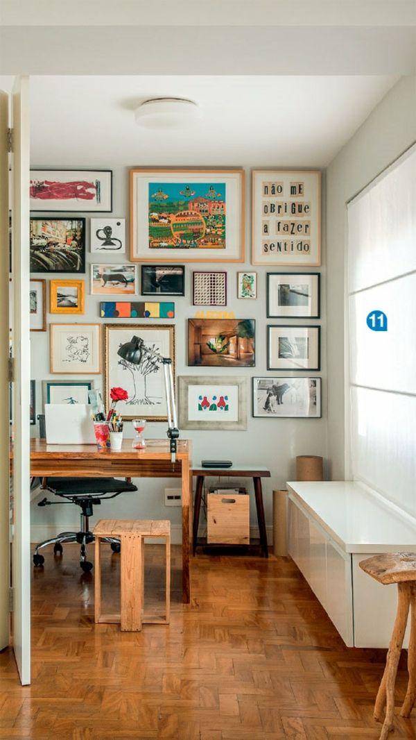 Arbeitszimmer Einrichten Wandgestaltung Mit Bildern Fenster Sichtschutz