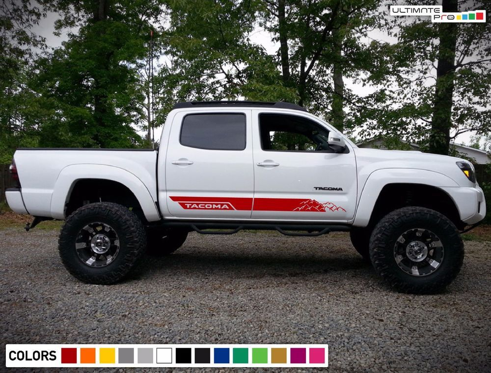 Decal Sticker Side Door Stripes For Toyota Tacoma Off Road Grille Lift Kit Trd Ultimateprocy1 Toyota Tacoma Lifted Toyota Tacoma Toyota Tacoma Sport