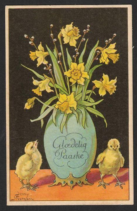 Glædelig påske 1937 Danmark Postkort Brugt m mærke