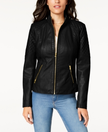GUESS Womens Faux Leather Moto Jacket