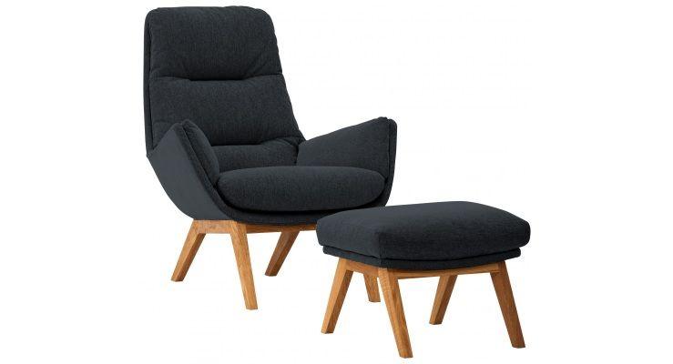 sessel garbo mit hocker eiche stoff saia anthrazit vie b ro pinterest house. Black Bedroom Furniture Sets. Home Design Ideas