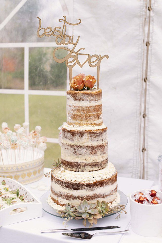 Rustic Naked Cake on a 16inch Gold Cake Stand - Sarahs Stands