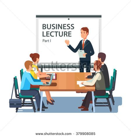 modern business teacher giving lecture or presentation to a group of