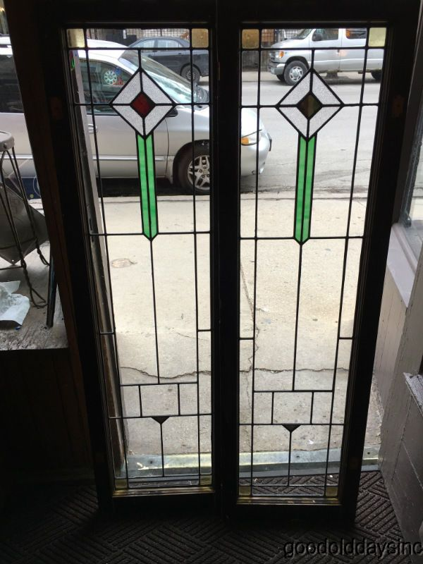 Antique Chicago Bungalow Stained Leaded Glass Doors Windows 62 by 18 - Antique 1920's Chicago Bungalow Stained Leaded Glass Doors