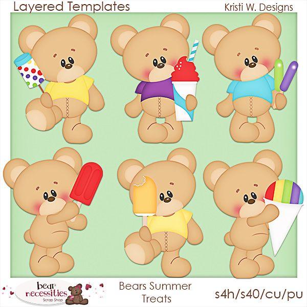 Bears Summer Treats-Templates | Summer treats, Templates ...