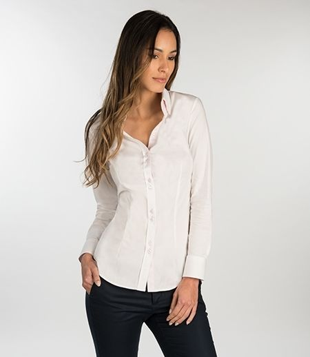 Bluse – Slim Fit – Baumwollstretch – Button-Down Kragen weiß ...