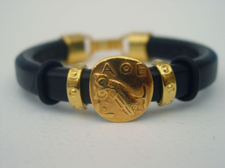 Greek Owl Of Athena Leather Bracelet Custom Made Las Handmade Gold Tone Alpha Theta Epsilon Mythology By Lindosartgallery On Etsy