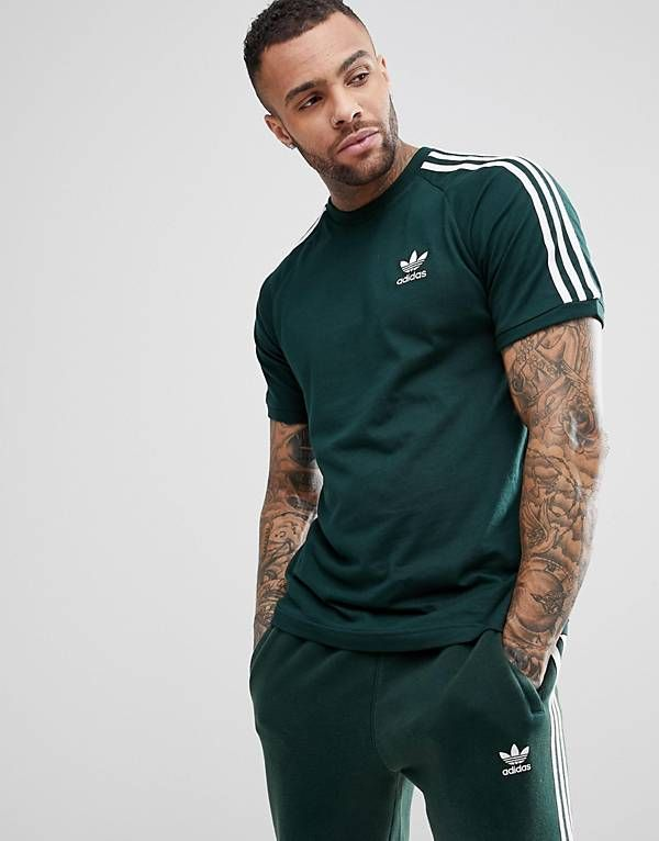 adidas Originals adicolor California T Shirt In Green CZ4545