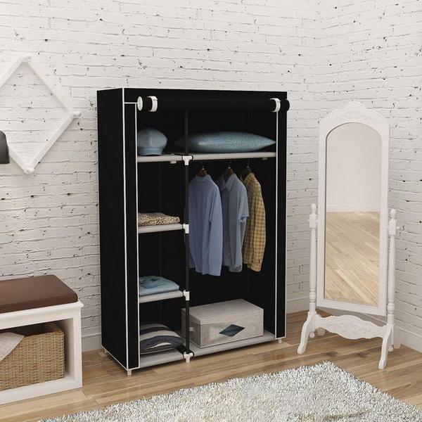 64inch Portable Closet Storage Organizer Wardrobe Clothes Rack With Shelves Black DIY Non-woven Fold Portable Storage Furniture#64inch #black #closet #clothes #diy #fold #furniture #nonwoven #organizer #portable #rack #shelves #storage #wardrobe