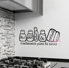 Vinilo decorativo pared cocina condimentos para la rutina - Moscas pequenas cocina ...