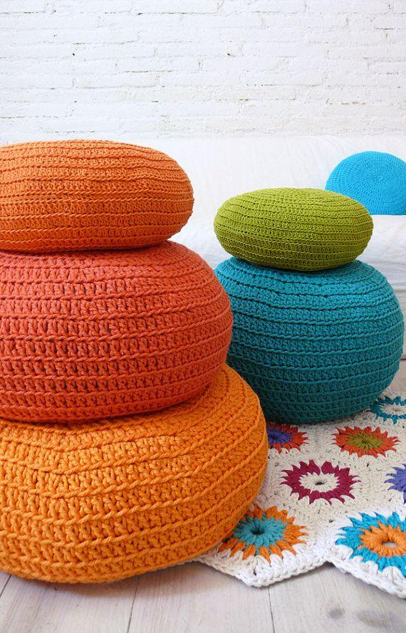 Floor Cushion Crochet - Orange | Projets à essayer | Pinterest ...