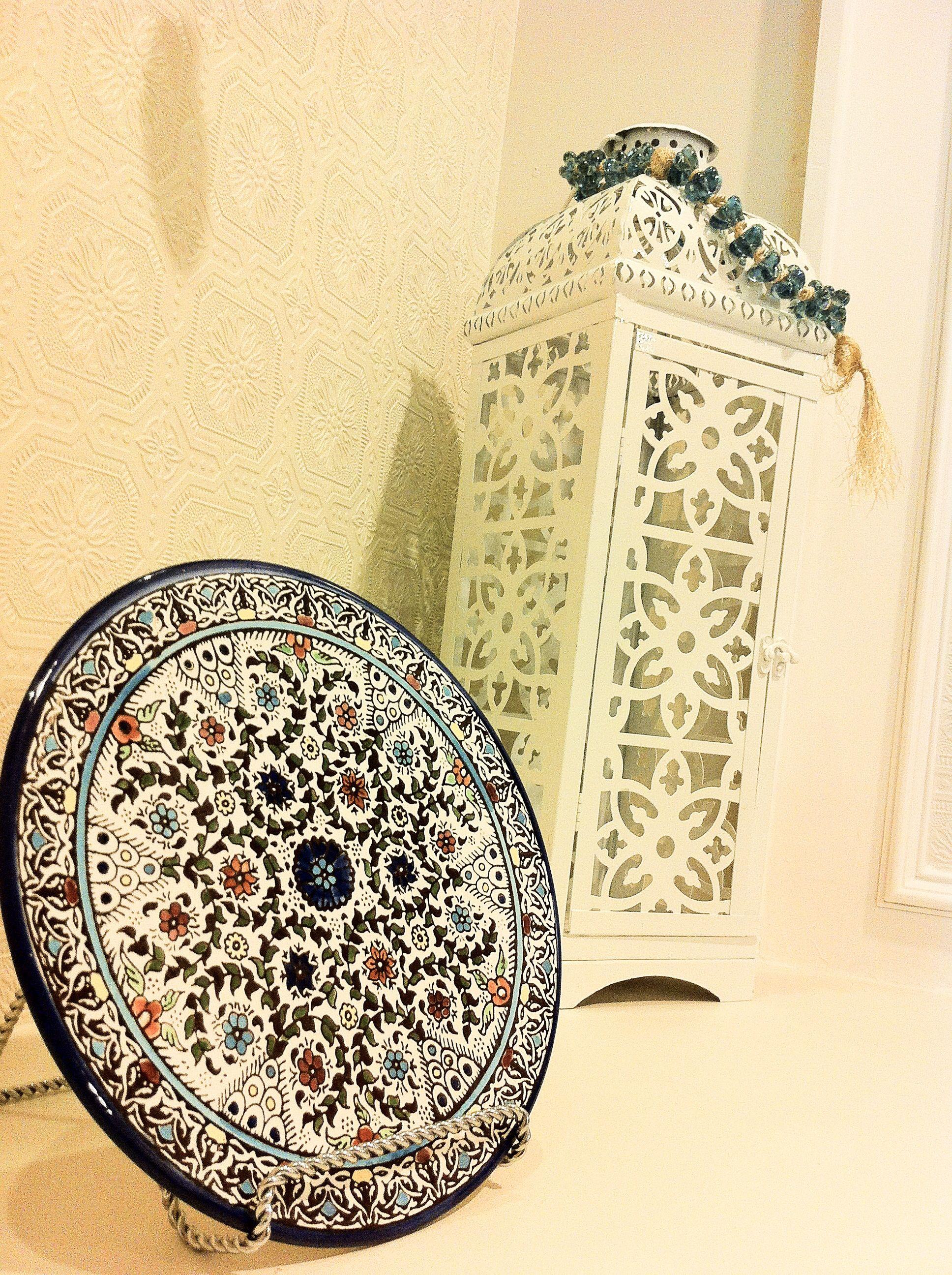 Hobby lobby glass ornaments - Ramadan Decor White Metal Lantern Hobby Lobby Mediterranean Hand Painted Plate From Jordan Glass Prayer Beads