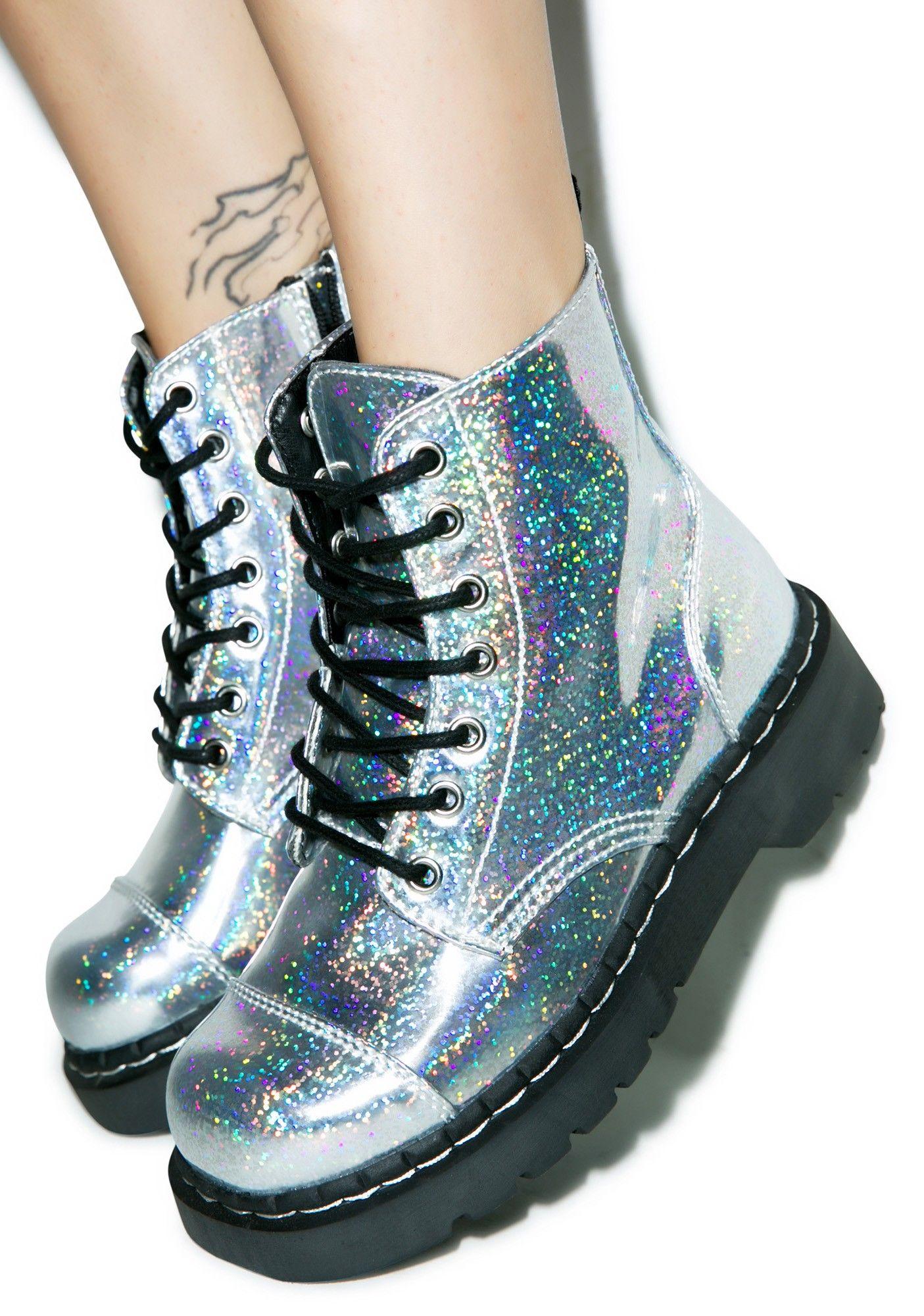 611acfec7eeab T.U.K. Hologram Anarchic 7 Eye Boots   Dolls Kill   Vintage Shoes in ...