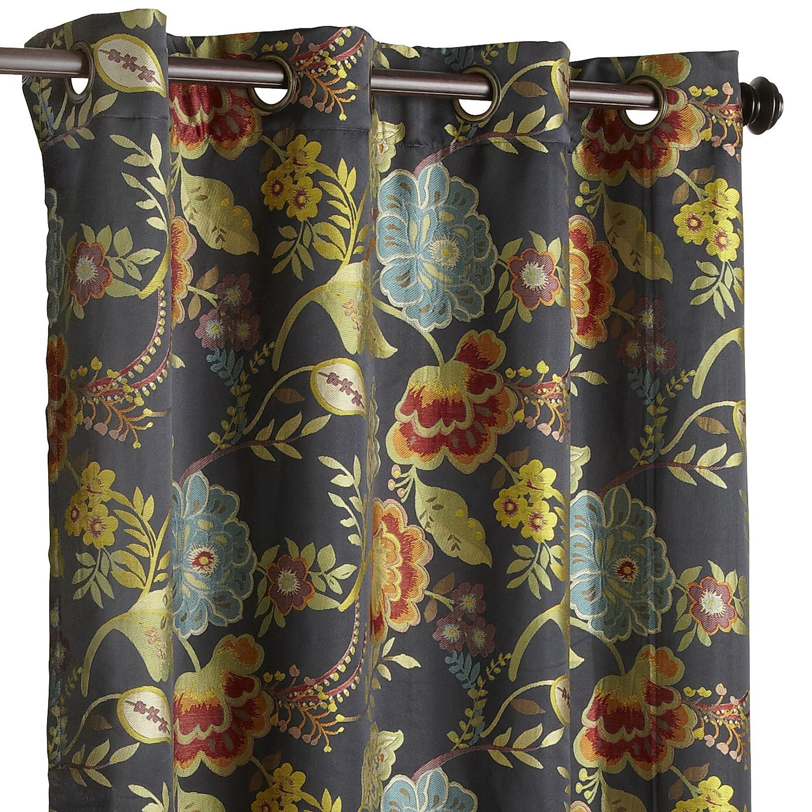 Midnight floral grommet curtain floral curtains dark backgrounds