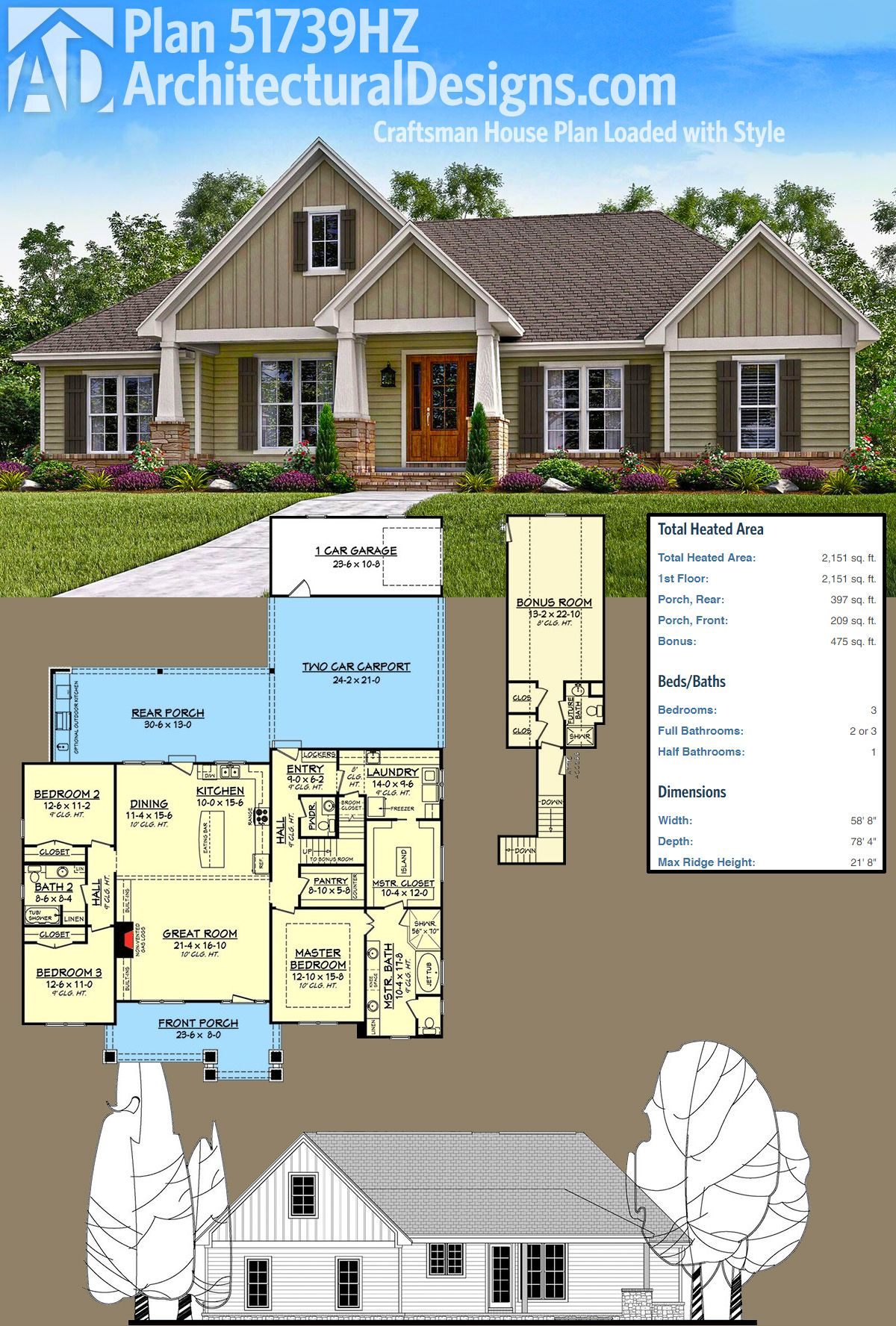 Plan 51739hz Craftsman House Plan Loaded With Style Craftsman House Plan Craftsman House Craftsman House Plans
