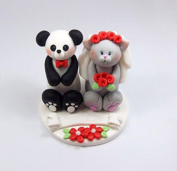 Custom Wedding Cake Topper Panda Bear and by HeartshapedCreations, $63.00