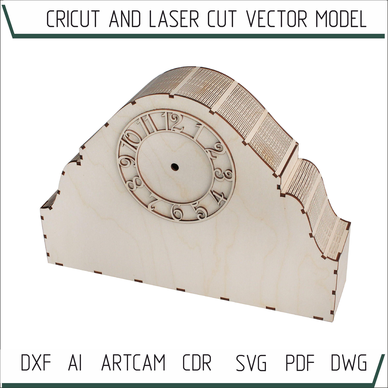 Mantel clock laser template. Modern clock svg 3D