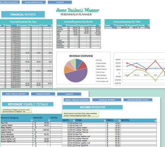 Home Business Planner - 2017 2018 Excel Spreadsheet - Etsy Seller